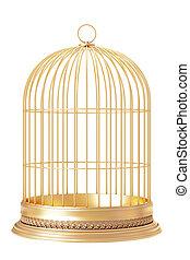 Golden bird cage  on white background 3d render