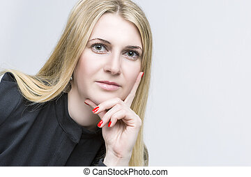 Portrait of Nice Smiling Happy Blond Woman Caucasian...