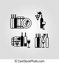 Set of wine flat black icons, symbols, signs and design...
