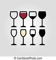 flat outline wine glasses icon set - flat outline wine...