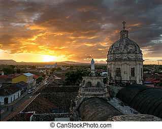 Sunset in Granada with a Church in the background, Nicaragua
