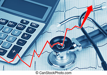EKG with stethoscope and calculator showing cost of health...