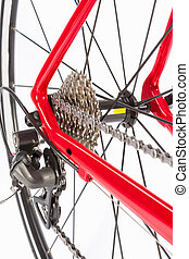 Bicycle Concept. Crankset and Rear Cassette with New Chain....