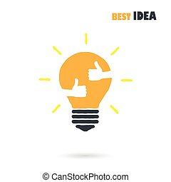 Creative light bulb logo design vector template with small...