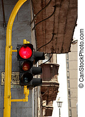 A Traffic Light in  Lima in Peru
