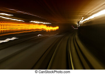 In Tunel - Abstract image of tunnel while the train is...