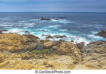 Travel Concepts. Astonishing View of Pacific Shoreline Located Alongside of Prominent Highway Number 1 In California.