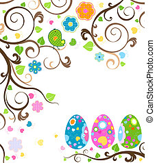 vector easter design with decorated eggs