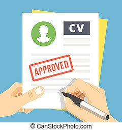 CV approved. Flat illustration - CV approvevent. Hand with...