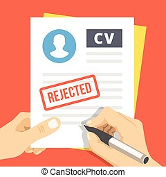 CV rejection Flat illustration - CV rejection Hand with pen...