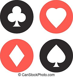 Playing cards suits symbols set