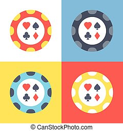 Poker chip icons set 4 poker chips vector icons