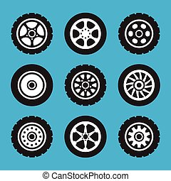 Tires and wheels icons set