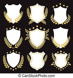 Premium shields and badges set White shields set with golden...