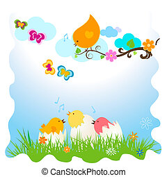 vector easter birds card