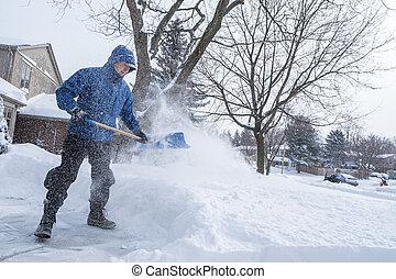 El quitar, pala, nieve, hombre