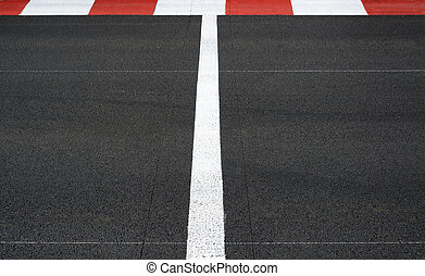 Start and Finish race line asphalt Grand Prix circuit -...