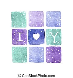 Greeting card with lettering I Love You. Vector watercolor illustration