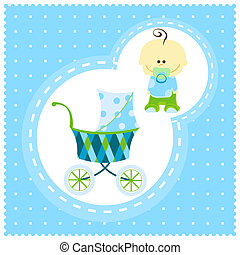 vector baby boy - vector sweet baby boy with carriage
