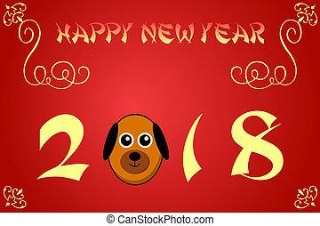 中国語, イラスト,  2018, 年, 新しい, カード, 幸せ