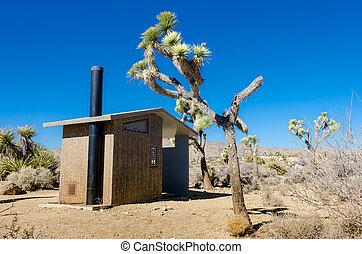 Desert Privy - Desert privy with Joshua trees on a blue sky...