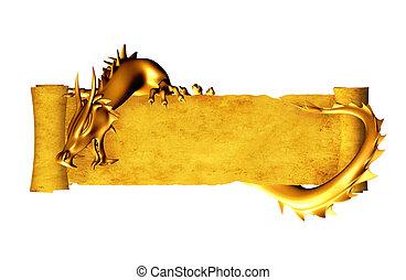 dragon, rouleau, vieux, parchemin