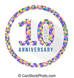 10 year anniversary triangle shape grey sign pattern...