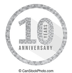 10 year anniversary triangle shape sign pattern background...