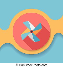 Windmill flat icon with long shadow