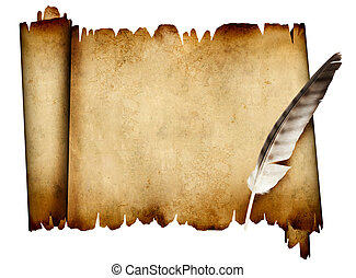 Scroll of parchment and feather Isolated over white