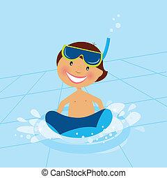 小さい, 男の子, 水泳, 水, プール