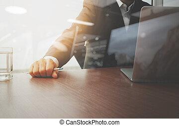 概念, 事務, 工作, 現代, 手, 水, 玻璃, 商人, 戰略, 技術