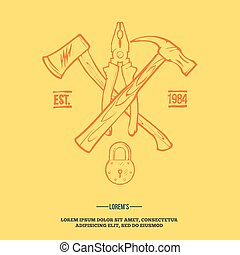 Vintage carpentry tools, labels and design elements vector...