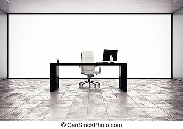 Executive office with desk chair and computer