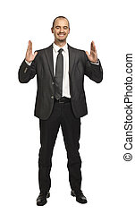 big business - standing caucasian business man in showing...
