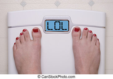 Scale with Feet LOL - Digital Bathroom Scale Displaying LOL...