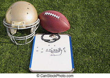 Football Helmet Ball Clipboard and Whistle Landscape - A...