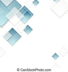 Abstract geometric tech blue squares design - Abstract...