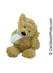 Image of soft bear wearing a bandage around his paw.