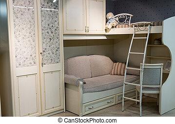 Interior cozy children's room in beige color