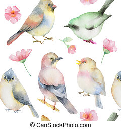 Watercolor seamless pattern - Birds and spring flowers...