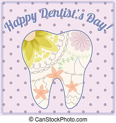 Happy dentist day card with tooth silhouette vintage -...