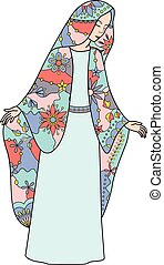Virgin Mary colorful - Vector Virgin Mary colorful