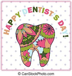 Happy dentist day card with tooth silhouette - vector happy...