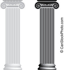 Ionic column isolated on white background Vector