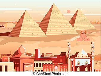 Pyramid and Sphinx of Giza, Egypt - vector illustration of...