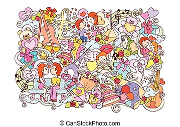 Love doodle background for Valentine's Day