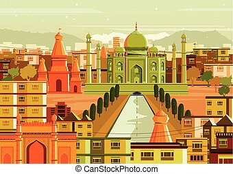 Taj Mahal with different building in India - vector...