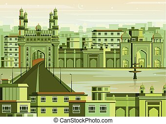 Charminar in Hyderabad cityscape - vector illustration of...