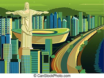 Christ the Redeemer statue in Brazil - vector illustration...